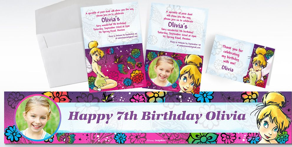 Custom Tinkerbell Keep Flying Invitations Thank You Notes – Party City Invitations Birthday