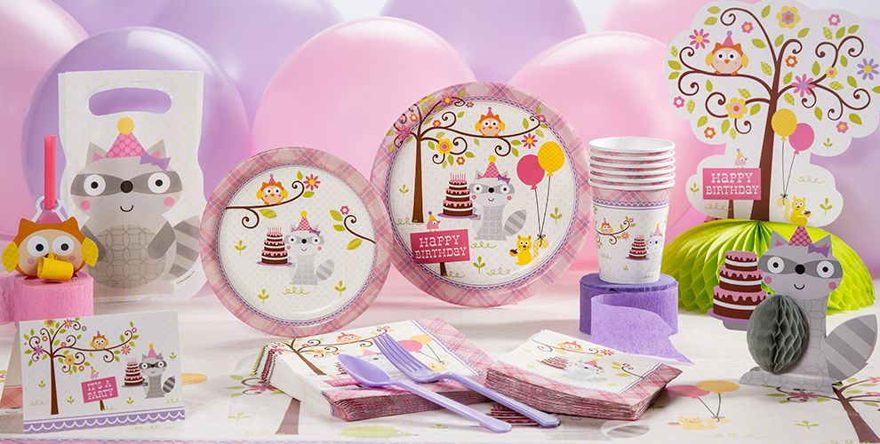 Girl 1st birthday party supplies happi woodland party city for 1st birthday decoration ideas for girls