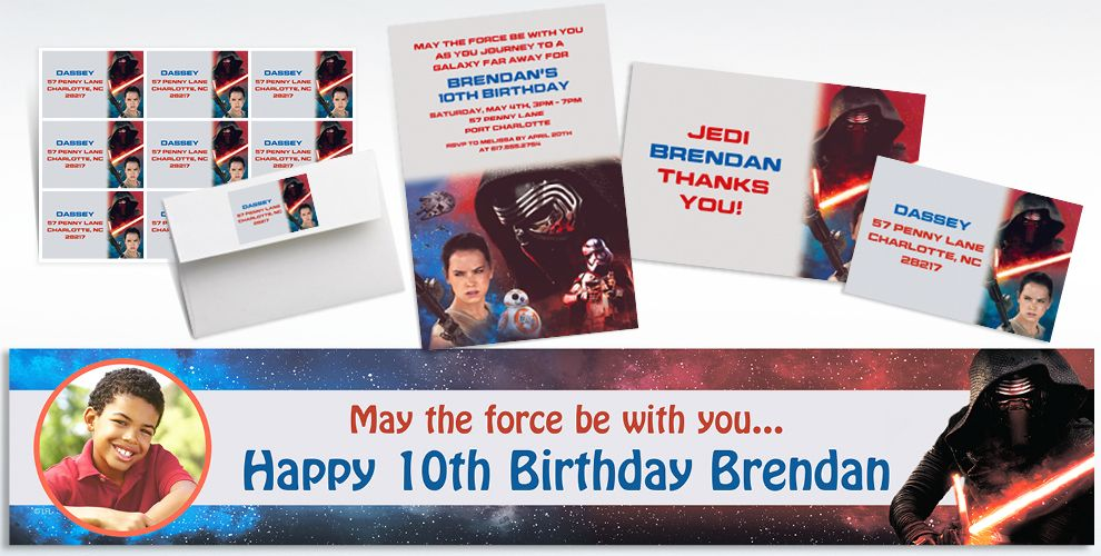 Custom Star Wars 7 The Force Awakens Invitations, Thank You Notes and Banners