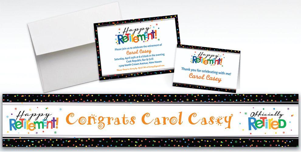 Custom Happy Retirement Celebration Invitations & Thank You Notes ...