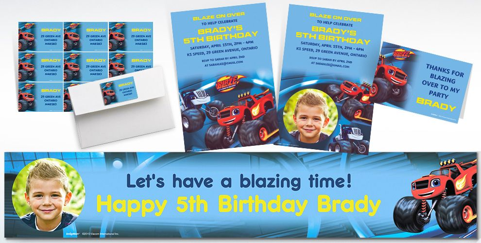 Custom Blaze and the Monster Machines Invitations and Thank You Notes