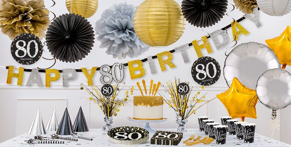 Sparkling celebration 80th birthday party supplies party for 80th decoration