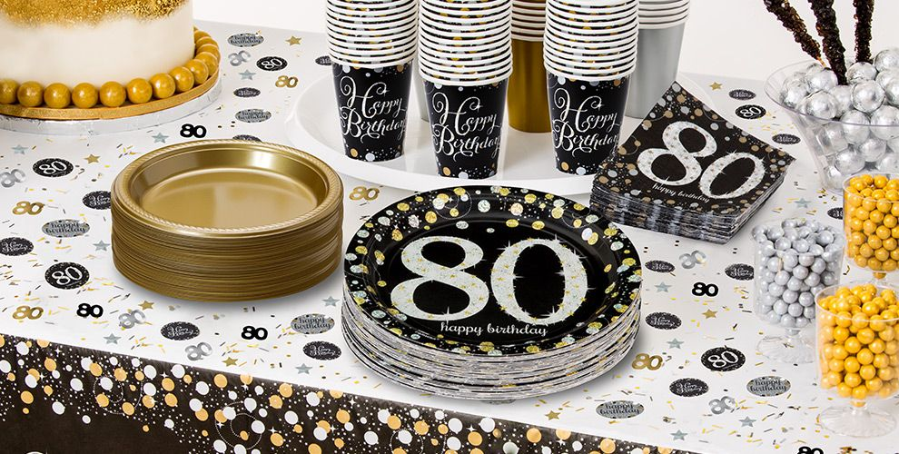 Sparkling celebration 80th birthday party supplies party for 80th birthday party decoration