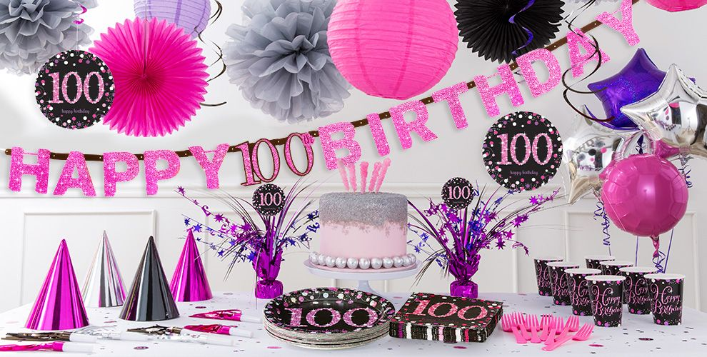 Pink Sparkling Celebration 100th Birthday Party Supplies