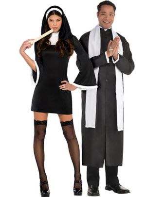 Adult Blessed Babe Nun & Priest Couples Costumes