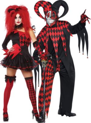 Red Jester Couples Costumes