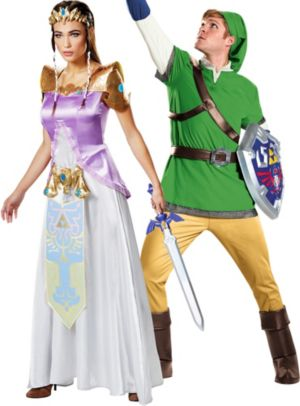 Adult Princess Zelda & Link Couples Costumes - The Legend of Zelda