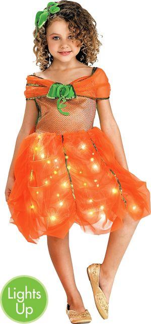 Girls Light-Up Pumpkin Princess Dress