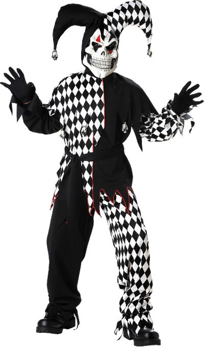 Boys Black and White Evil Jester Costume