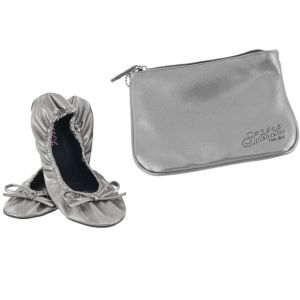 Sidekicks Silver Travel Ballet Flats