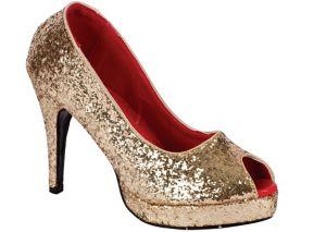 Gold Glitter Peep-Toe Shoes