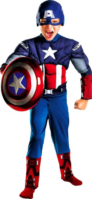 Boys Captain America Classic Muscle Costume - The Avengers
