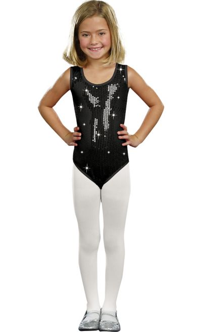 Girls Black Sequin Bodysuit