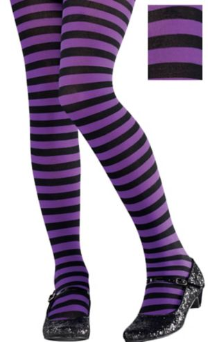 Child Purple and Black Striped Tights