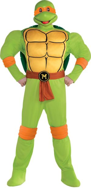 Adult Michelangelo Muscle Costume Plus Size - Teenage Mutant Ninja Turtles