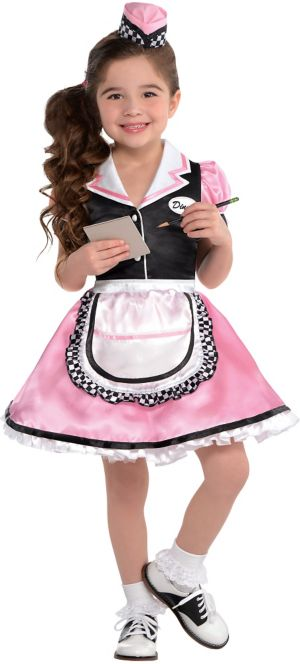 Little Girls Dinah Girl Waitress Costume