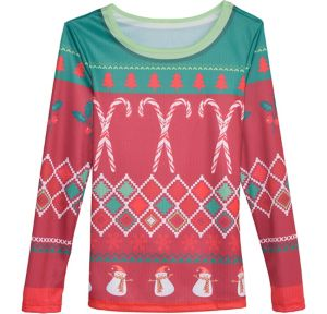 Candy Cane Ugly Christmas Sweater Long-Sleeve Shirt