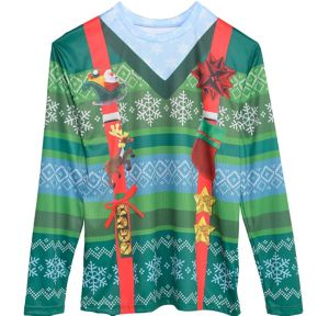 Ugly Christmas Sweater & Suspenders Long-Sleeve Shirt