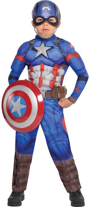 Little Boys Captain America Muscle Costume - Captain America: Civil War