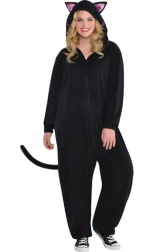 Adult Zipster Black Cat One Piece Costume Plus Size