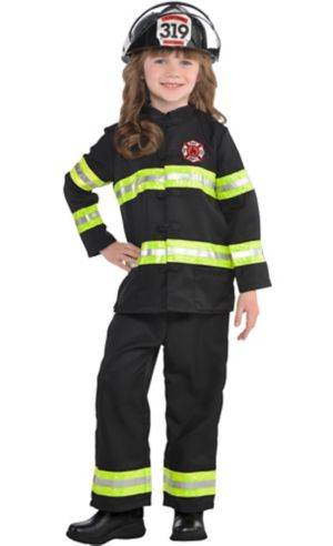 Toddler Girls Reflective Firefighter Costume