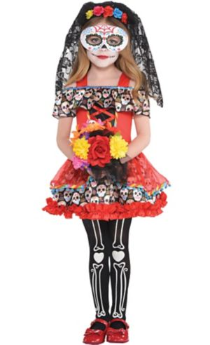 Little Girls Senorita Sugar Skull Costume