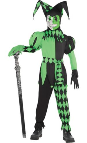 Boys Green Wicked Jester Costume