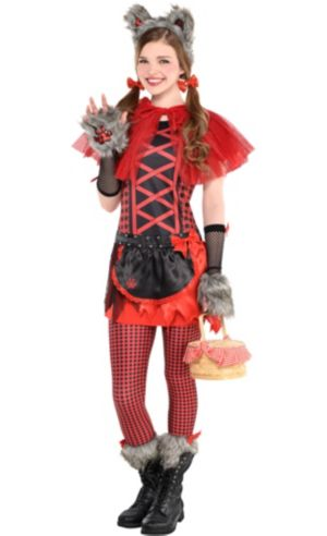 Girls Little Red Riding Hood Wolf Costume Deluxe