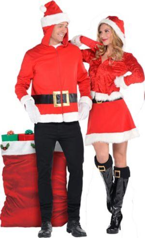 Adult Santa Hoodie & Ms. Claus Couples Costumes