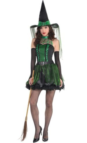 Adult Spell Caster Black & Green Witch Costume