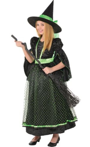 Girls Fancy Black & Green Witch Costume