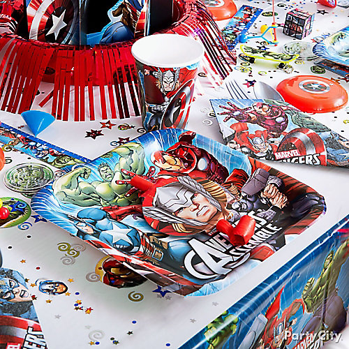 avengers place setting idea party city. Black Bedroom Furniture Sets. Home Design Ideas
