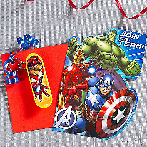 Avengers Invite with Favor Idea