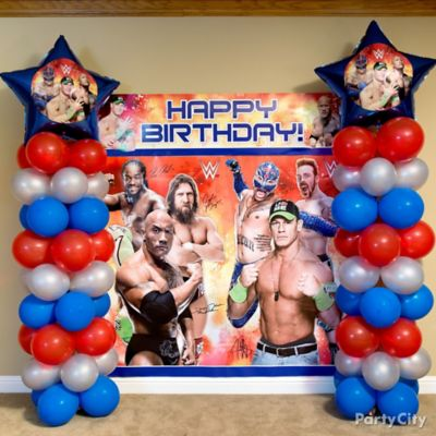 WWE Balloon Column DIY Decorating Ideas WWE Party Ideas Boys