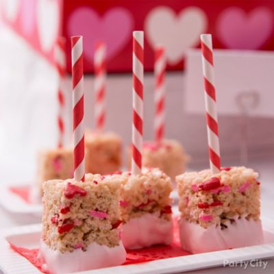 Valentine's Day Dipped Crispy Rice Treats Idea