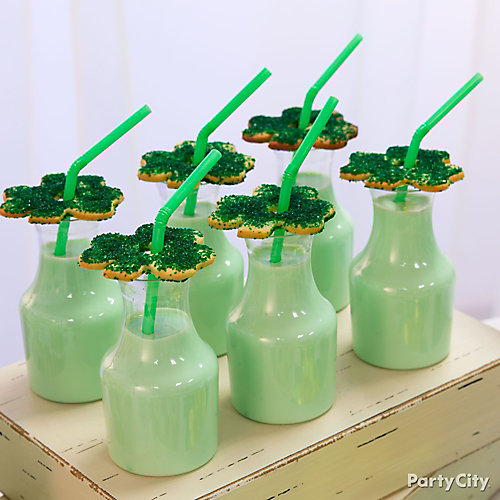 Green Milk Shamrock Cookies Idea