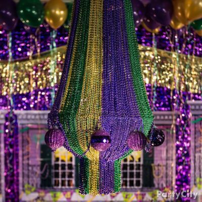 DIY Mardi Gras Beads Chandelier How To
