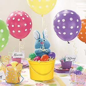Plush Bunny and Balloon Centerpiece Idea