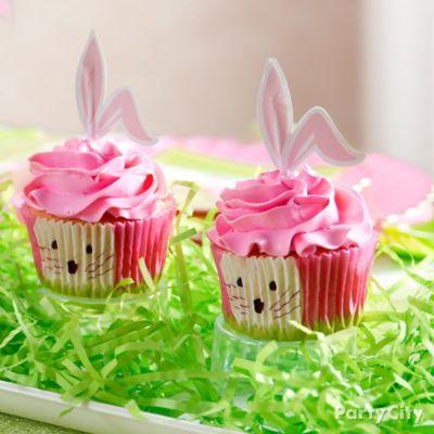 Pink Bunny Ear Cupcake Idea