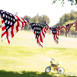 DIY American Flag Bandana Garland Idea