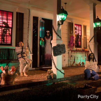 Halloween Asylum Porch Decorating Idea