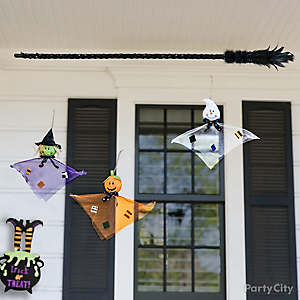 Halloween Witch's Broom Hanging Ghosts Idea