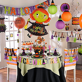Happy Halloween Witch Balloon & Party Room Idea