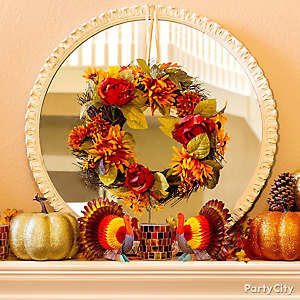 Fall Hues Mantel Decorating Idea