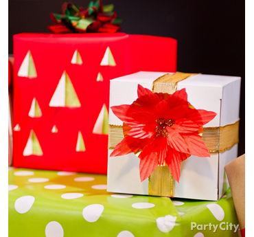Baking Cup Pointsettia Gift Wrap DIY