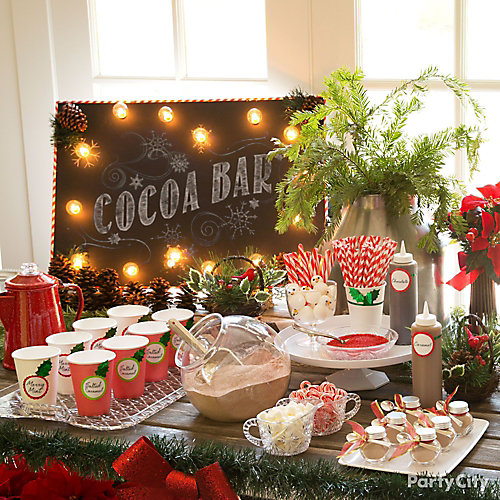 hot chocolate station idea hot chocolate station ideas christmas party ideas holiday party. Black Bedroom Furniture Sets. Home Design Ideas