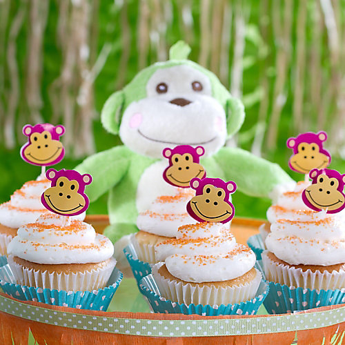 Jungle Theme Baby Shower Monkey Cupcakes Idea
