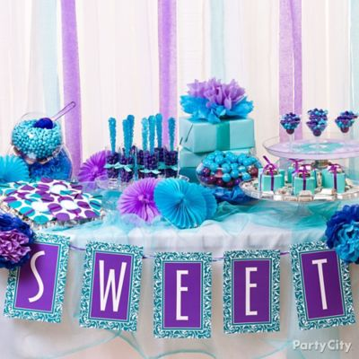 Purple Blue Candy Buffet Display Idea