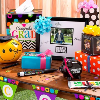 Colorful Grad Gift Table Idea