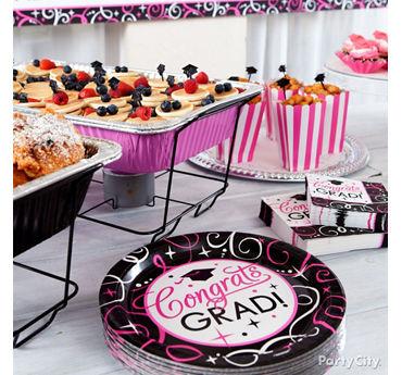 Pink Mini Pancake Skewers Grad Buffet Idea